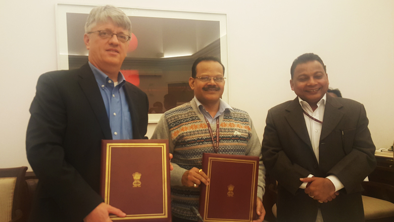At the signing - Michael Haney, Operations Advisor, World Bank, Raj Kumar, Joint Secretary, Department of Economic Affairs, Ministry of Finance and Dinesh Singh Bisht, Joint Secretary, Ministry of Minority Affairs