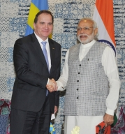 Swedish Prime Minister Stefan Lofven With his Indian counterpart Modi