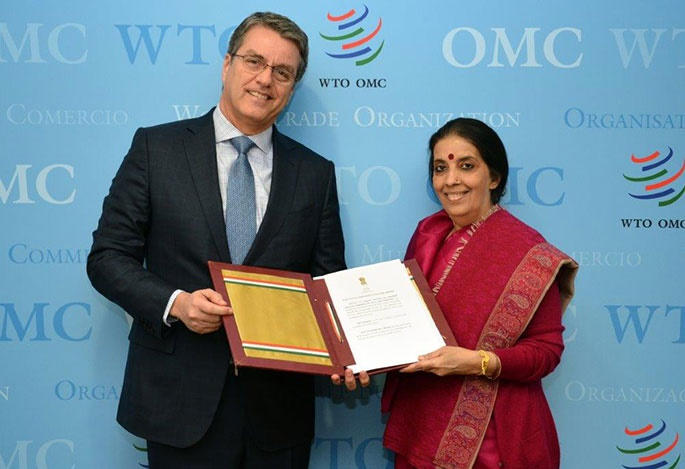 Anjali Prasad presents India''s instrument of acceptance ratifying the Trade Facilitation Agreement to WTO's Director General Roberto Azevedo on Friday, April 22, 2016. (Credit: WTO/IANS)