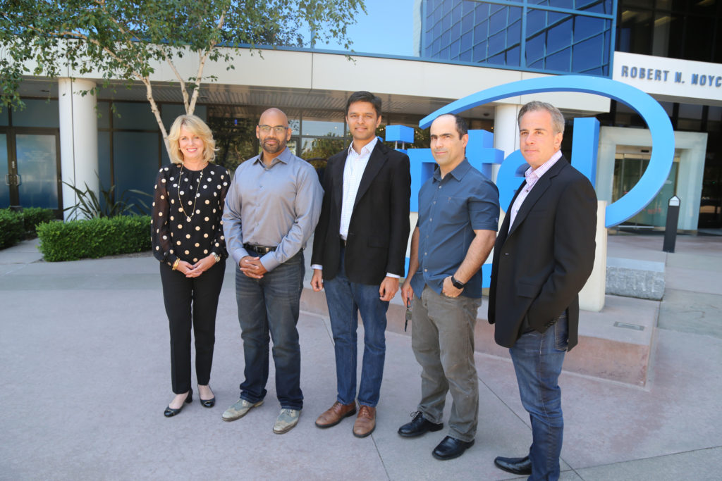 Intel's Diane Bryant with Nervana's co-founders Naveen Rao, Arjun Bansal, Amir Khosrowshaki and Intel vice president Jason Waxman. (Photo: Intel)
