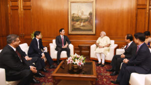 The Vice Chairman, Samsung Electronics, Mr. Jay Y. Lee calls on the Prime Minister, Shri Narendra Modi, in New Delhi on September 15, 2016