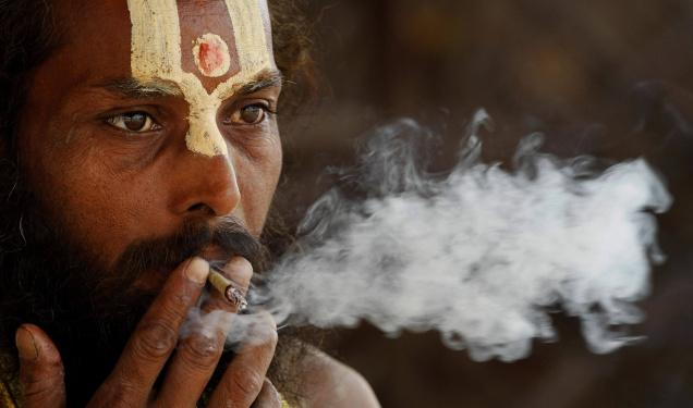 Bidi smoking Sadhu: Photo courtesy: The Hindu