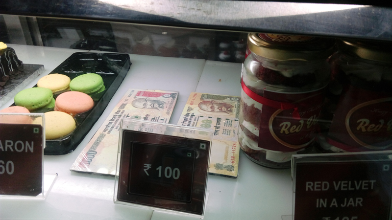 Dark chocolate replicas of the scrapped Rs 500 and Rs 1,000 notes created by a Kolkata-based bakery. Priced at Rs 100 each, these thin chocolate slices will perhaps, offer some solace, after you have borne the brunt of queuing up in front of ATMs and laid hands on cash.